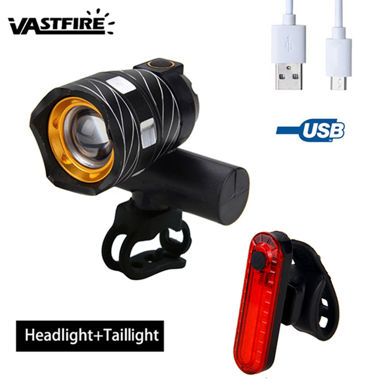 Zoomable LED Bicycle Light 15000LM XM-L T6 LED Lamp USB Rechargable Torch 3 Modes Cycling Bike Headlight+Red Laser Taillight