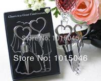 Free Shipping 2 Sets 4pcs Bride Groom Bottle Stopper And Opener Two Hearts Wine Favor Set