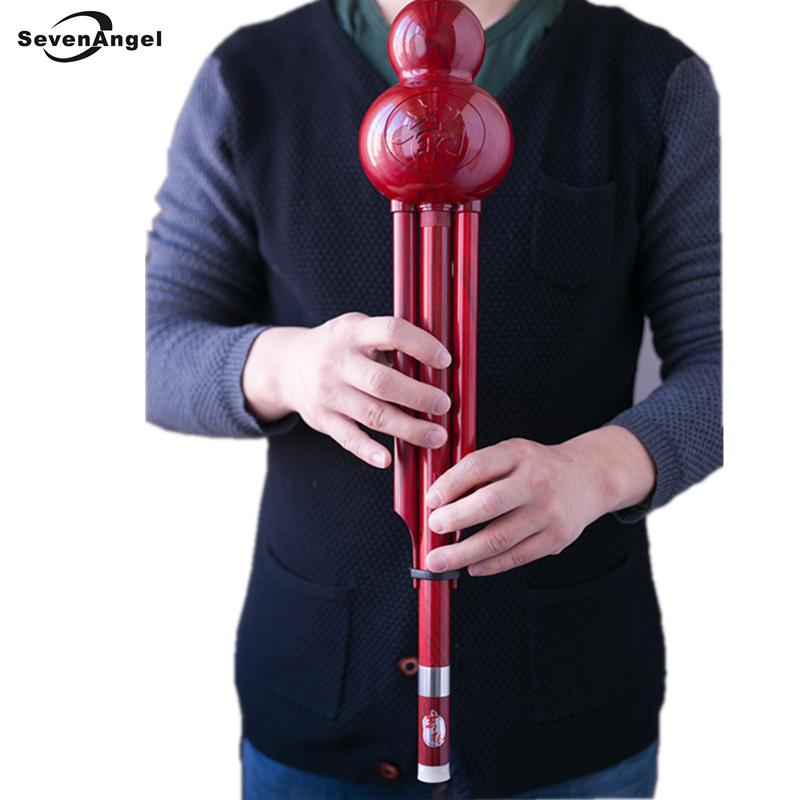 Improved Bass D Key Hulusi Flute Imitate wood grain ABS Material Folk Musical Instrument Professional Chinese Flauta chinese traditional professional performance full red sandalwood hulusi three tone detachable flute dizi key of c b with case