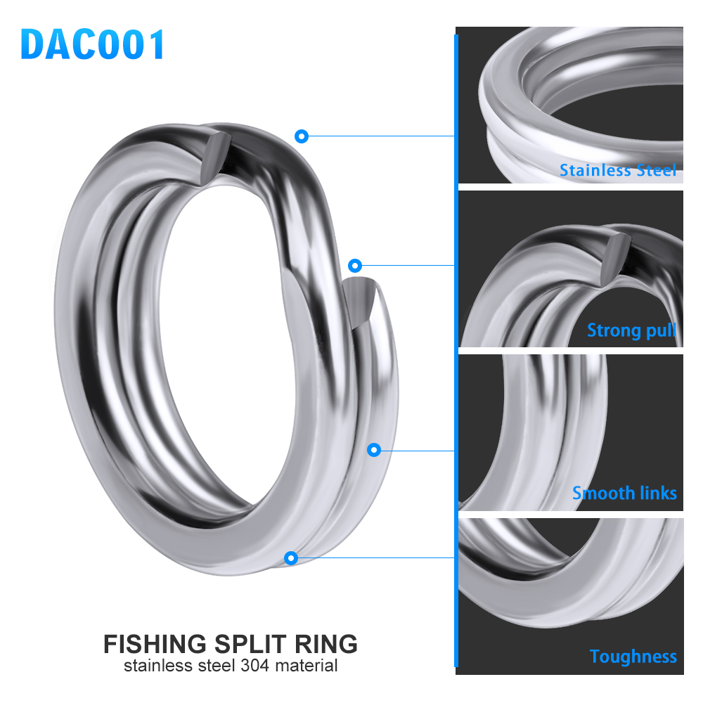 100pcs Fishing Split Rings for Crank Hard Bait Silver Stainless Steel 3#-8# Double Loop Split Open Carp Tool Fishing Accessories 8