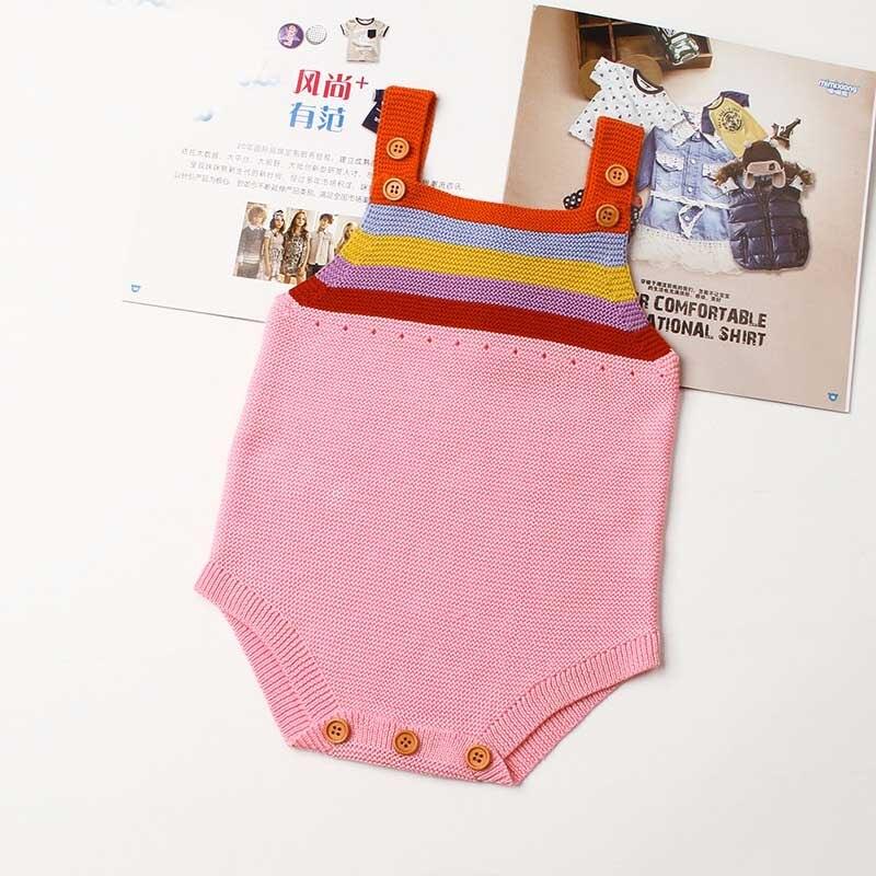 Everweekend для маленьких девочек Радуга трикотажные полосы Комбинезон Карамельный Цвет Холтер Демисезонный модная одежда для малышей