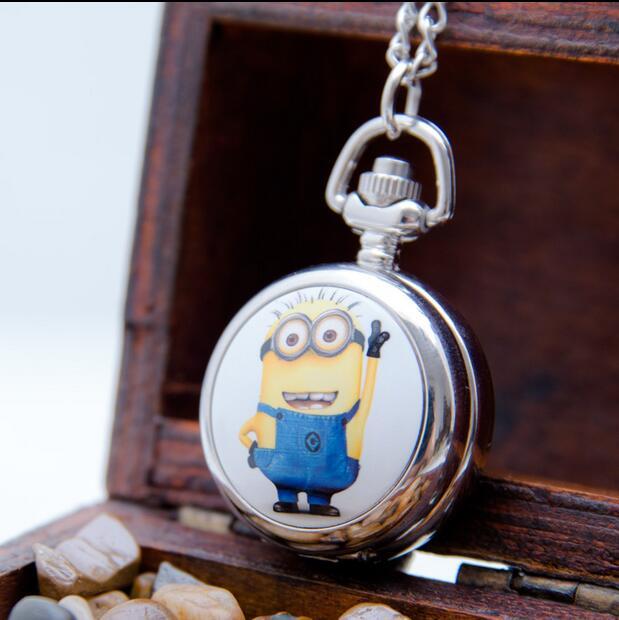 Minions Pattern Enamel Fashion Quartz Silver Bronze Modern Hours Pendant Necklace Pocket Watches Gift