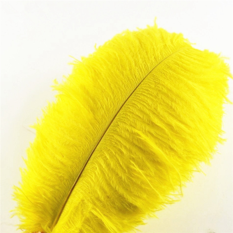 Wholasale Yellow Ostrich Feathers for Crafts 15-70cm Wedding Decoration Party Feather Carnival Dancer Plume Plumas