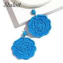 Handmade Beaded Flower Tassel Earrings For Women Colorful Knitting Fringe Accessories Wedding Gift