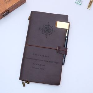 Image 5 - Free Engrave 100% Genuine Leather Travelers Notebook travel Diary Journal Planner Vintage Handmade Cowhide Gift  customized DIY