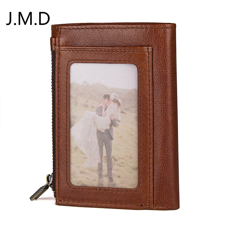 J.M.D Genuine Leather Men's Button Wallet Leather Vintage RFID Shield Wallet 8187(China)