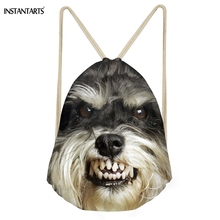 INSTANTARTS Brand Design Pet Dog Print Drawsrtring Bag Women Men Beach Travel Softback Standard Schnauzer String Casual Backpack