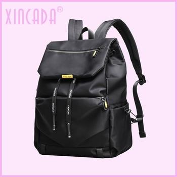 XINCADA Slim Strap Women Girls Luxury Black Backpack Female Fashion Rope Design Water Resistant College Backpack Sumka Dropship