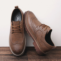 Autumn New Men Martens Shoes Brogue Casual Shoes Men Genuine Leather Shoes Work Business Casual Sneakers