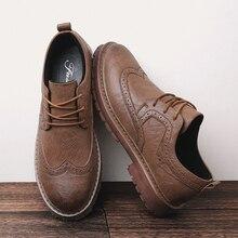 Jesień nowe męskie buty Martens Brogue obuwie męskie oryginalne skórzane buty praca biznes trampki