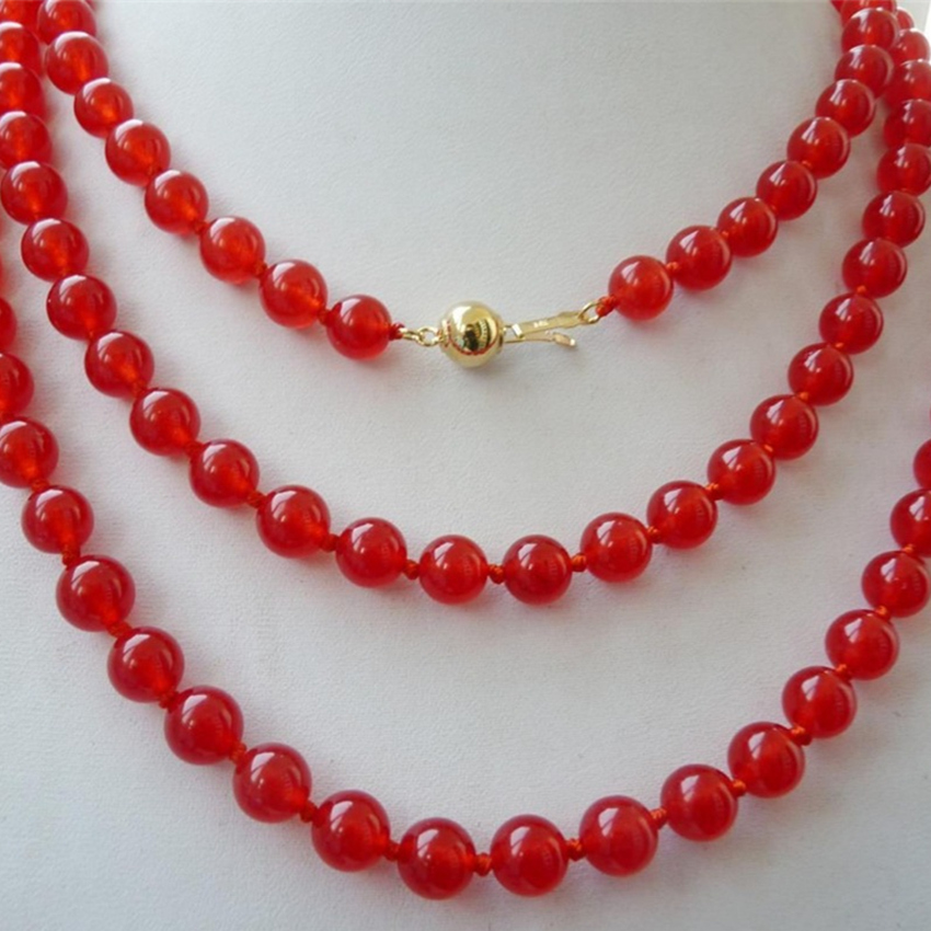 Charms dyed red 8mm beautiful natural stone chalcedony jades round - Fashion Jewelry - Photo 2