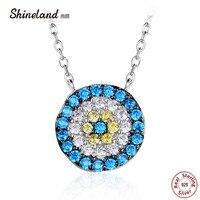 Shineland Popularne 925 Sterling Silver Okrągły Niebieski Kryształ Szczęście Żółte Oczy Kobiety Wisiorek naszyjnik Autentyczne Biżuteria Srebrna Prezent