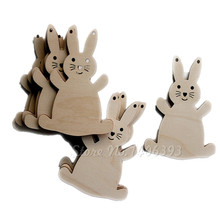 50pcs/lot Hollow Out Cartoon Rabbit Easter Bunny Wooden Wood Crafts Tags Easter Wooden Tags Supplies Ornaments DIY Decorations liviorap happy easter rabbit eggs decorations wooden easter eggs hanging pendant easter party supplies birthday wedding party