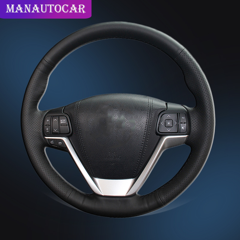 Car Braid On The Steering Wheel Cover for Toyota Highlander 2014 2015 2016 2017 2018 2019 Sienna 2015 2019 Auto Wheel Covers-in Steering Covers from Automobiles & Motorcycles