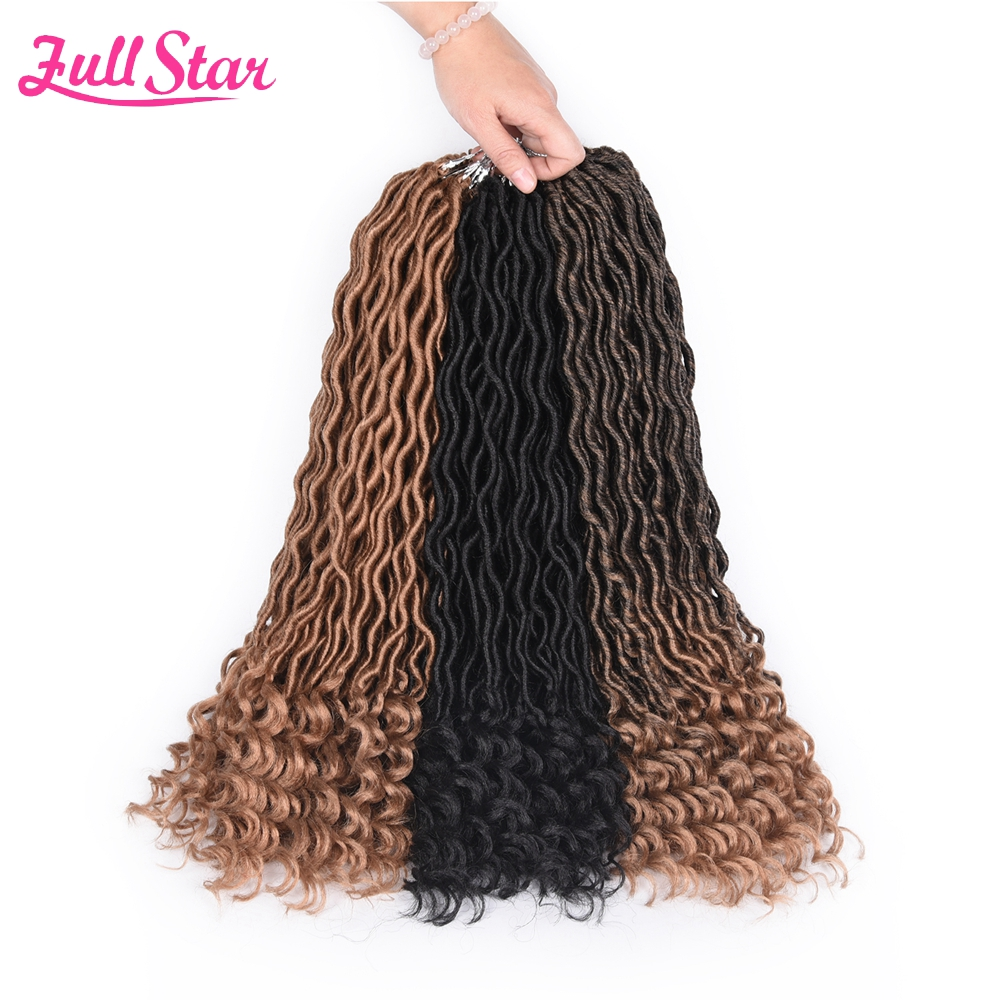"Full Star Faux Locs Crochet Hair Curly Ends Synthetic Hair 20"" 24strands 75g/piece black Braids Hair for Black Women"