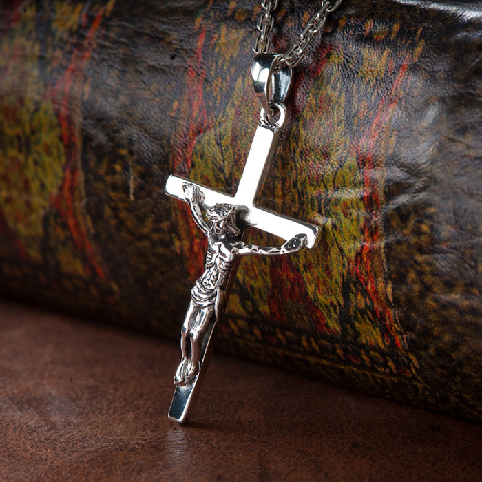 Handmade Thai Silver Jesus Cross Pendant 925 pure silver vintage crossjewelry necklace pendant Man Pendant