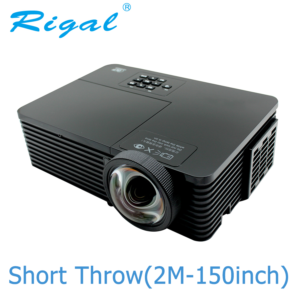 Rigal RD811 DLP Projector 6000 Ansi Lumens HD 1080P Short Throw Projector Active Shutter 3D Meeting Education Daylight Beamer ...
