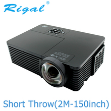 Rigal RD811 DLP Projector 6000 Ansi Lumens HD 1080P Short Throw Projector Active Shutter 3D Meeting Education Daylight Beamer
