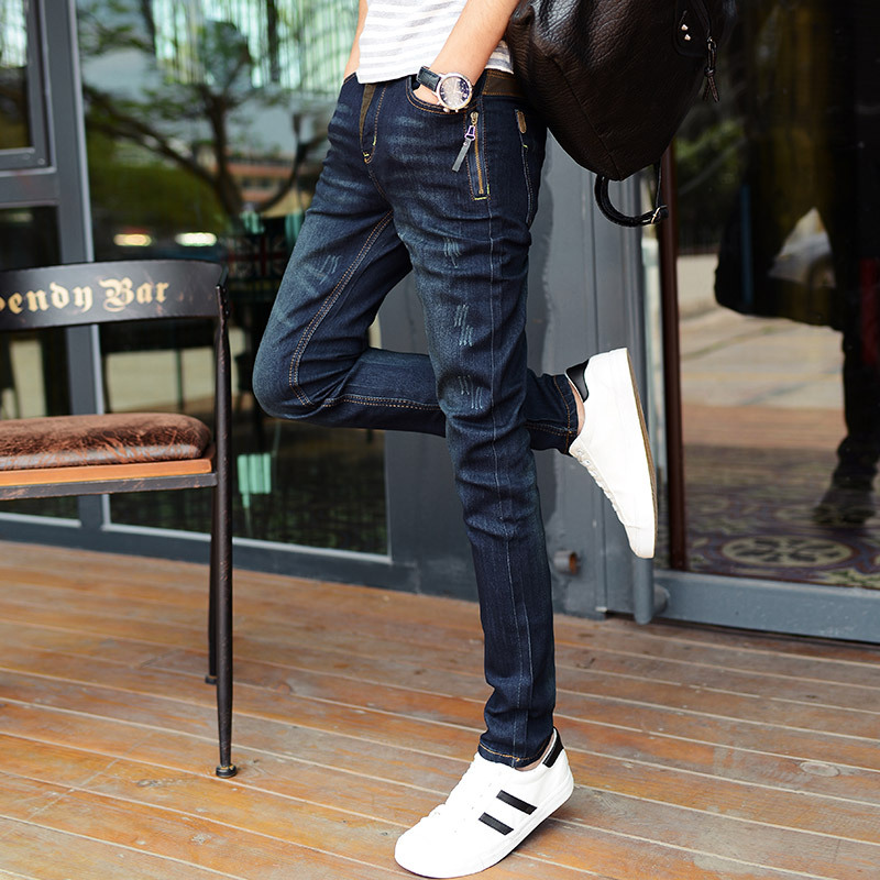 Top quality 2018 Fashion Casual Denim Teenagers jeans male stretch feet pants Side Zipper men jeans trousers pantalon homme jean