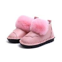 Детские Обувь для девочек зимние теплые зимние сапоги Мода для малышей теплые зимние Обувь кожаная для девочек для детей милый Розовый и кр...