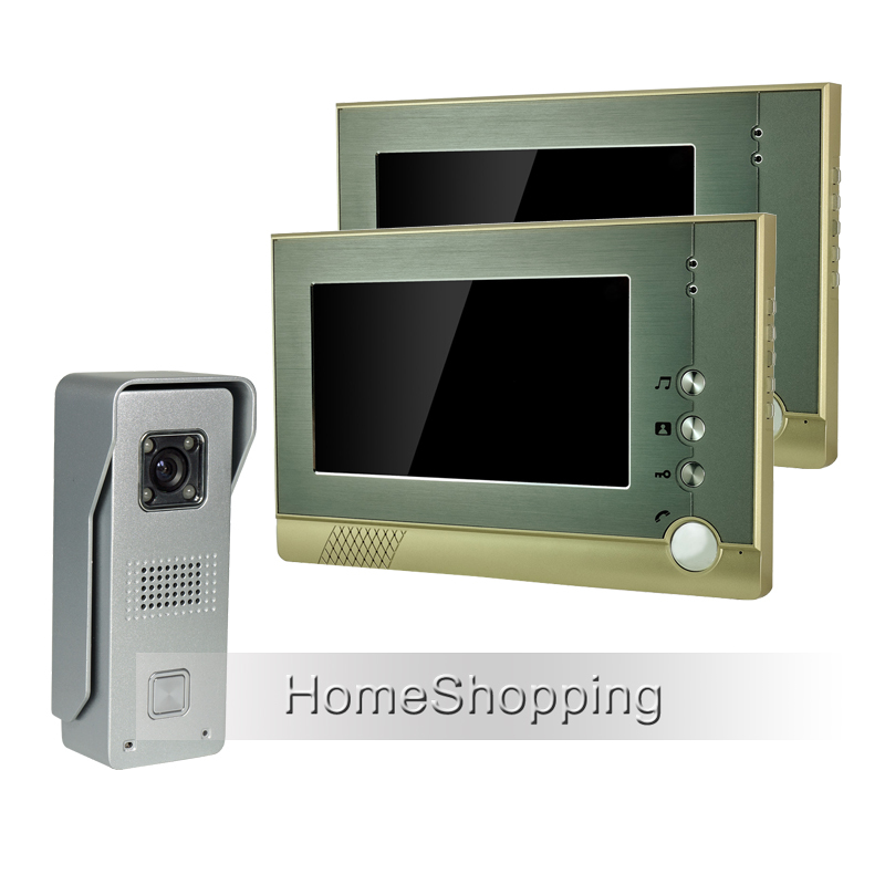 FREE SHIPPING Wired 7 inch TFT Screen Video Door phone Intercom System With 1 Metal Waterproof Door Camera + 2 Monitors IN STOCK wired 7 video door phone intercom doorbell entry system 2 monitors villa house waterproof camera in stock free shipping