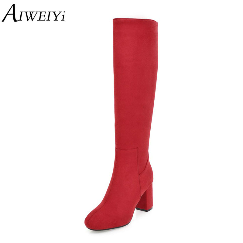 AIWEIYi Black Knee High Boots for Women Square toe Thick Heel High Heels Winter Boots Long Martin BootsAIWEIYi Black Knee High Boots for Women Square toe Thick Heel High Heels Winter Boots Long Martin Boots