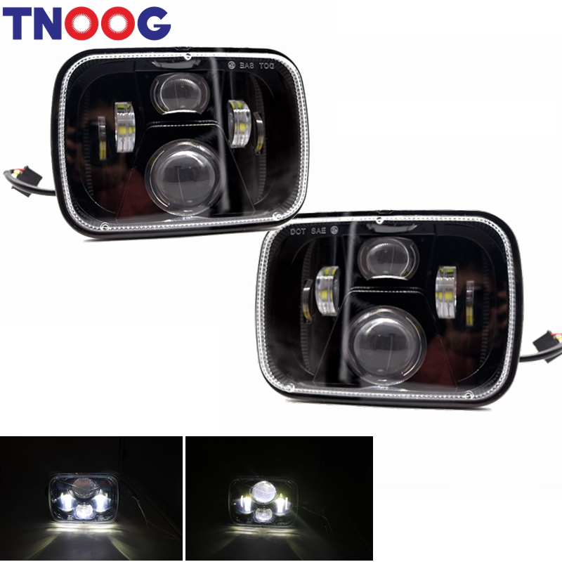 5x7 Led Headlights 7x6 Led Sealed Beam Headlamp with High Low Beam for Jeep Wrangler YJ Cherokee XJ H5054 H6054LL 6052 6053 pair square 5x7 inch led headlight daymaker sealed beam replacement truck light high low beam headlamp for jeep wrangler yj