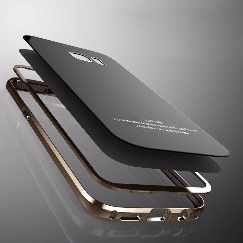 imágenes para Caso de Parachoques del Metal Para Samsung S7 borde Caso de la Cubierta de Vidrio para Samsung Galaxy Caso de Lujo Para Samsung Galaxy S7 S7 Borde borde