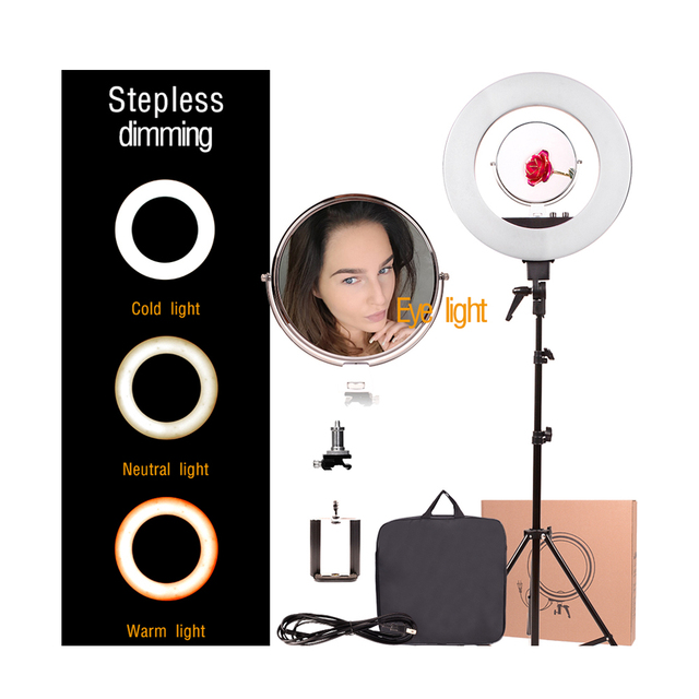 "Amazon hot Black 18"" inch 48W 480pcs 3000-5600K Dimmable Photo/Video LED Ring Light for YouTube Film Studio Setup Makeup live"