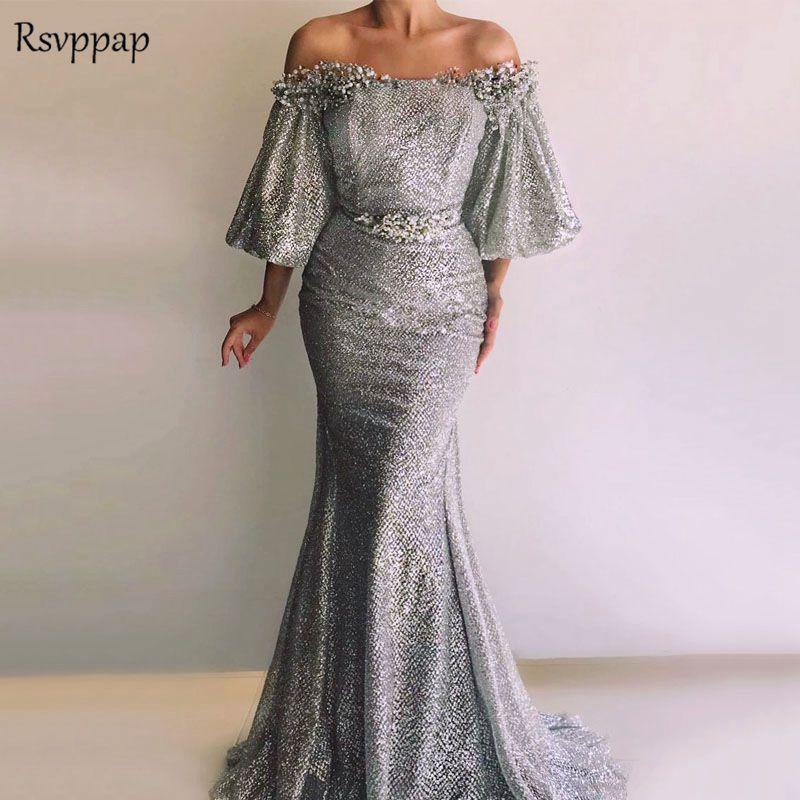 Long Sparkly Arabic Evening Dresses 2018 Elegant Mermaid Three Quarter  Glitter Pearls robe de soiree Silver Formal Gown 028a2692d3c5