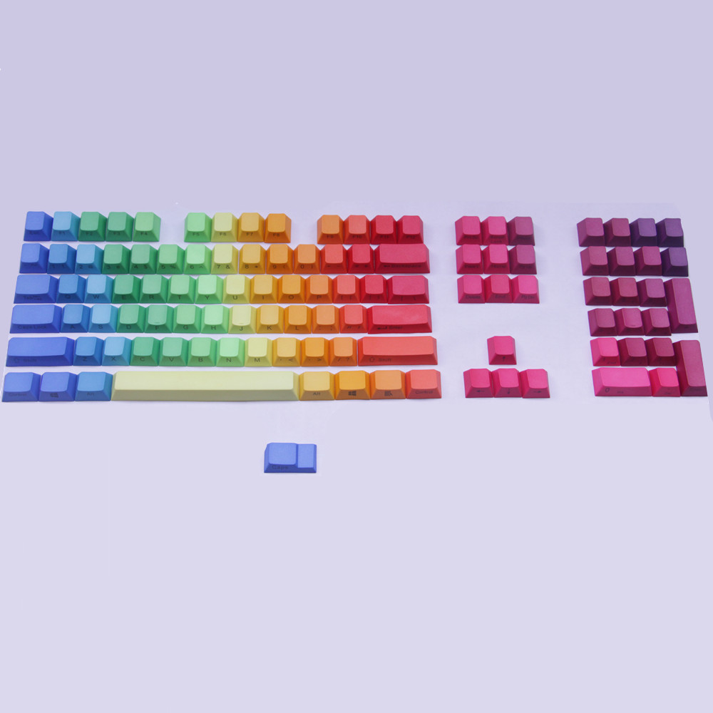 PBT keycaps Rainbow Keyset Top/Side Printed Cherry MX Key Caps For 87/104/108/Cherry 3000 MX Switches Mechanical Gaming Keyboard