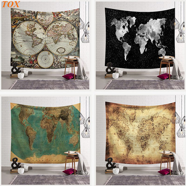 TOX World Map Indian Tapestry Hippie Wall Hanging Tapestries Boho ...
