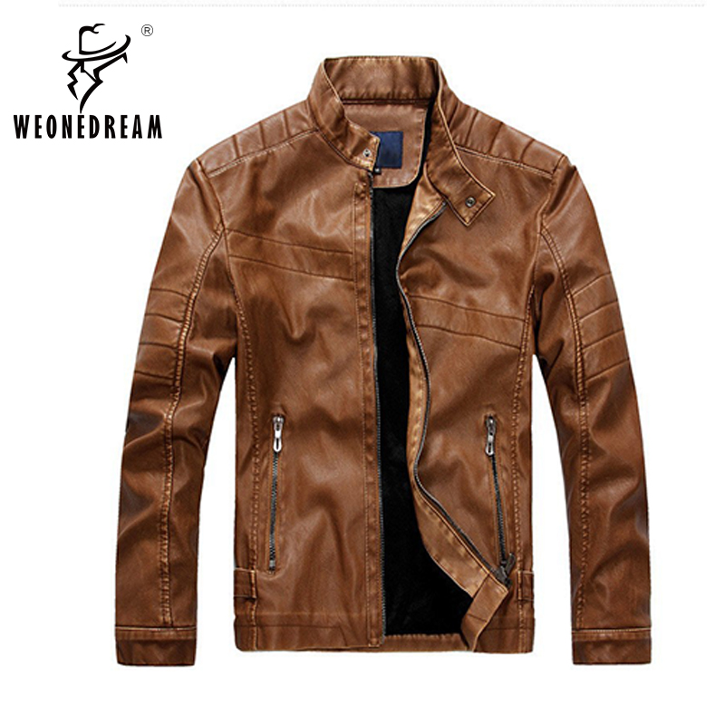 2017 New Mens Winter Thickness Leather Jackets Mens British Mandarin Collar Solid Motorcycle Leather Jackets and Coats