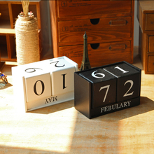 VILEAD Black White Wood Calendar Figurine Decor Creative Date Miniatures Model for Office Home Decoration Acessories
