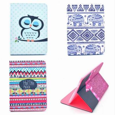 Fashion Leather For Samsung Galaxy Tab4 Tab 4 T530 t531 10.1 Case Painting Stripes Flower Porcelain Stand Book Cover Flip Case