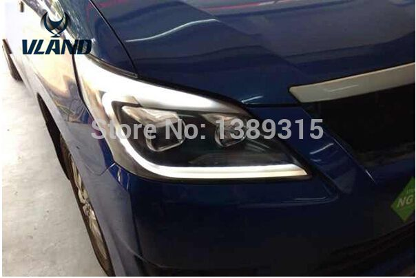 Free shipping Vland for  Innova 2012 Performance Headlights Lamp With Angel eyes LED DRL Projector Lens