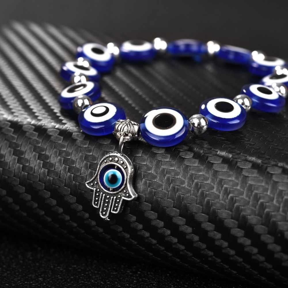 Obsede moda prata cor azul mau olho hamsa mão fatima palm braceletes para as mulheres contas corrente do vintage jóias presentes femininos