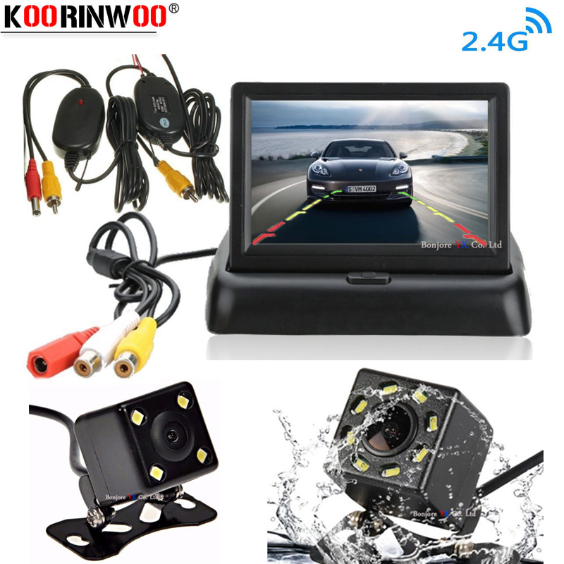 Koorinwoo 4.3 Inches HD Flip Down Foldable TFT LED Car Monitor Dash Vehicle Rear View Parking Screen Reverse Trunk Camera Set