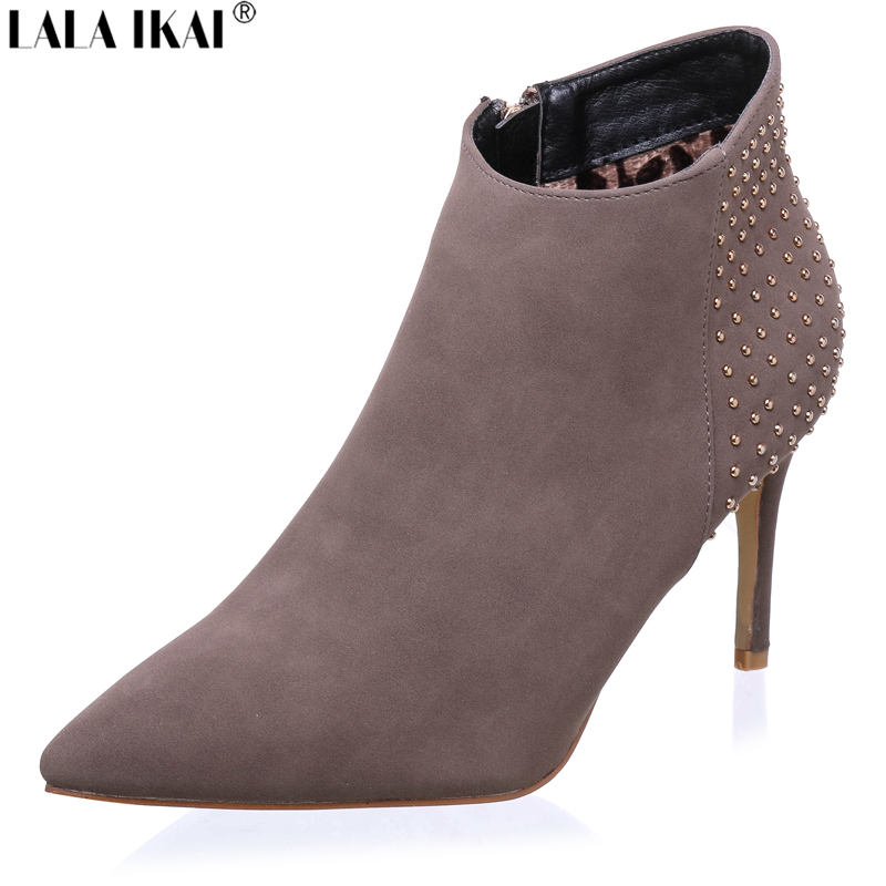 luxury brand autumn winter boots suede pointed toe