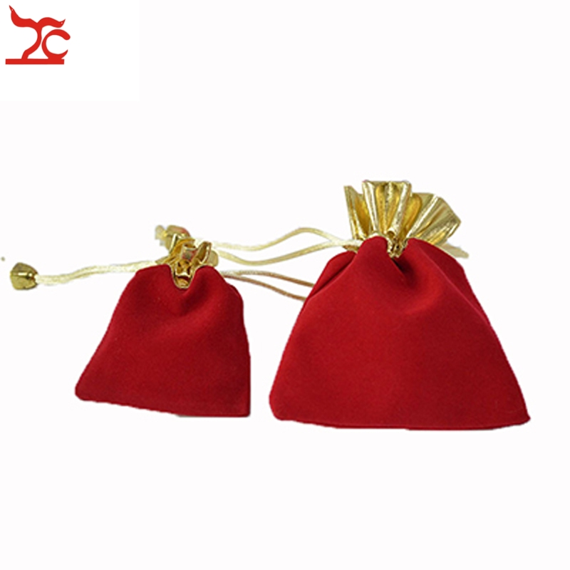 Wholesale 100Pcs Velvet Jewelry Package Pounch Red And Gold Drawstring Present Birthday Organizer Storage Gift Bag ...