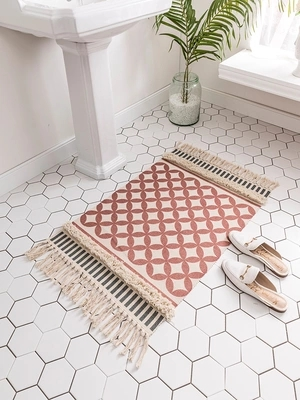 Style nordique Simple coton tapis pour salon chambre tapis spécial gland mode tapis porte tapis canapé Table chaise tapis zone tapis - 2
