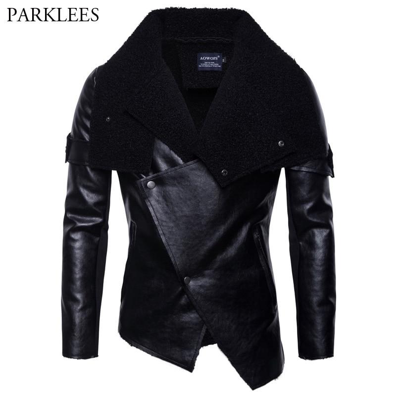 Irregular Hem Faux Leather Jackets Men 2018 Autumn New Plus Velvet PU Moto Biker Jacket Mens Casual Punk Leather Jackets Coats
