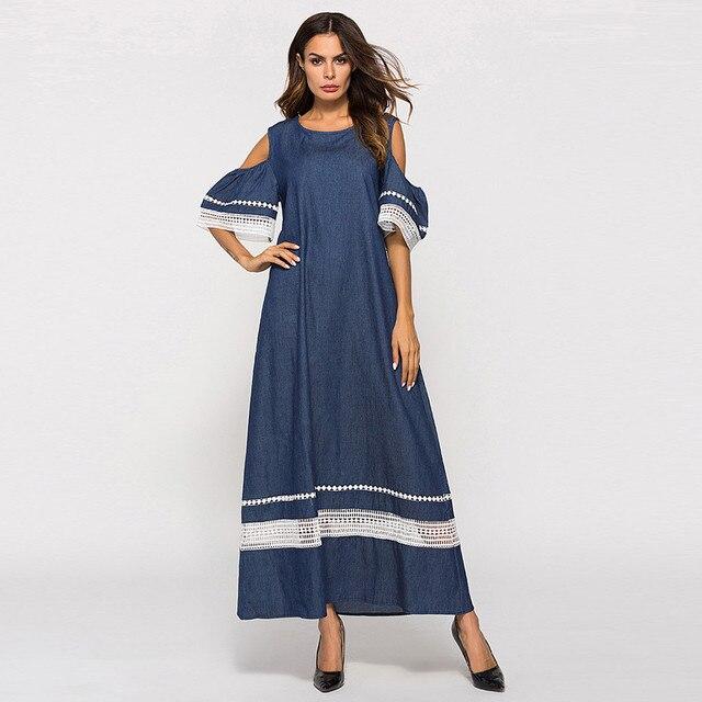 Women Fashion High Waist Plus Szie Muslim Splice Long Sleeve Dress Islam Jilbab Elegant Design Maxi Dresses Clothes z0415 1