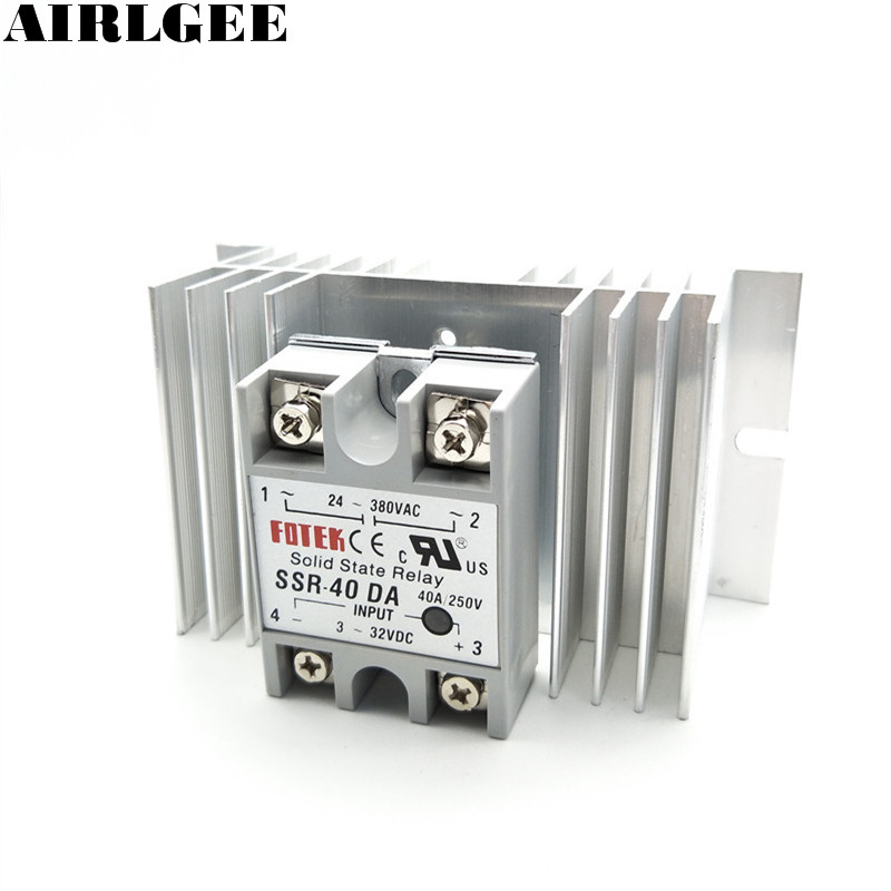 High quality  Temprature Control Solid State Relay SSR 40A 3-32V DC 24-380V AC with Heat Sink цена 2017