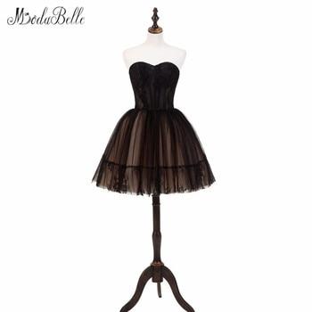 e7288058e Modabelle vestido de bola para la graduación de una línea de tul negro  vestido de festa elegante Encaje Vestidos de fiesta 2018 nuevo sin mangas