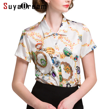 3c6c4aeea Mulheres Blusa de SEDA REAL de Impressão de manga Curta senhora Do Escritório  camisa Blusa Plus Size Blusas femininas 2018 Outono Verão Novo