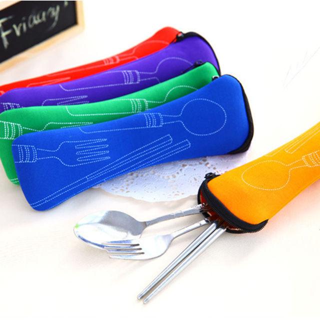 Popular 3X tenedor cuchara viaje Acero inoxidable cubiertos bolsa portátil Picnic accesorios de viaje