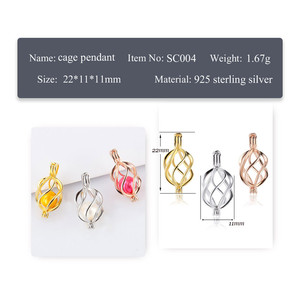 Image 2 - CLUCI 3pcs 925 Sterling Silver Wish Pearl Cage Pendant Jewelry Gift for Women Fashion Twisted Silver 925 Pearl Locket SC004SB