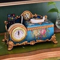 christmas European luxury multifunctional paper towel box creative clock carton napkin living room remote control receiving box