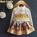 Líder urso Conjuntos de Roupas Meninas 2016 Moda Outono Crianças Conjuntos de Roupas de Impressão da Longo-luva Shirt + Padrão de Vestido 2 pcs Crianças Definir